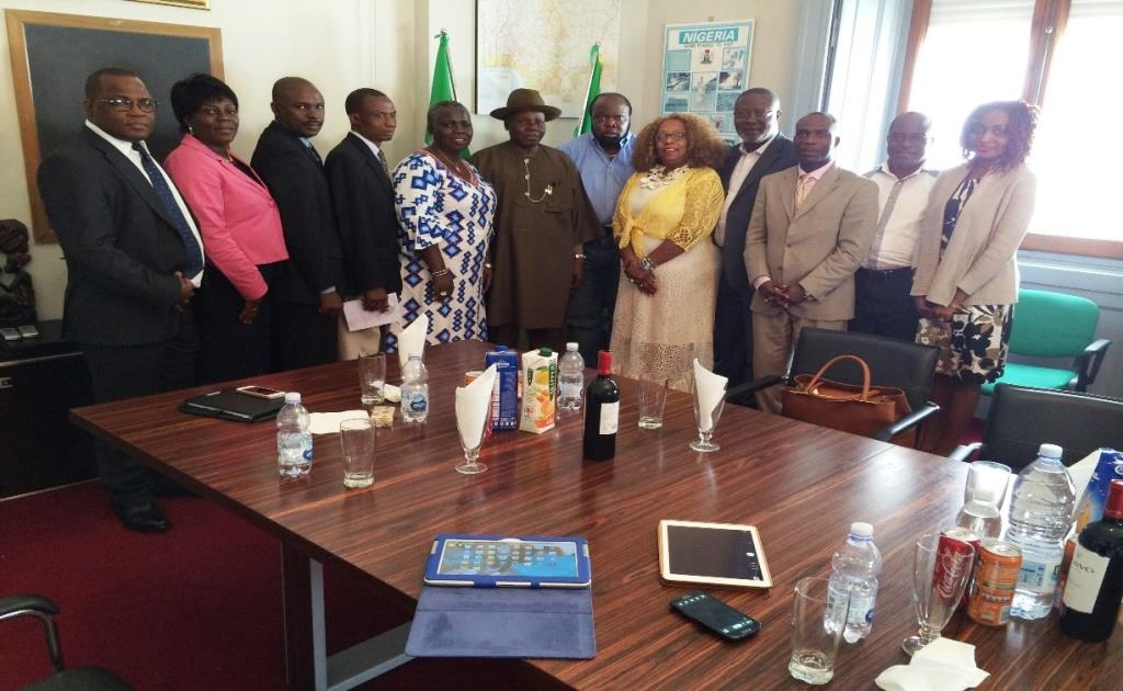 The Delegation and Nigerian Ambassador and officials in Italy