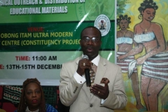 Dr. Mfon Archibong speaking at a community event